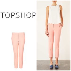 New Topshop Stitch Cigarette Pants In Pink